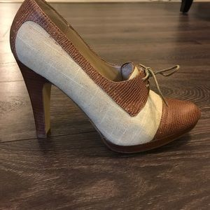 Steve Madden Oxford Heels 9 New Fabric Leather
